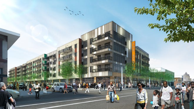 Architect's rendering shows how The Scott at Brush Park will look upon completion in late 2016.