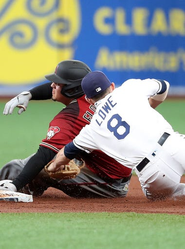 May 8, 2019; St. Petersburg, FL, USA;Tampa Bay Rays second baseman Brandon Lowe (8) tags out Arizona Diamondbacks first baseman Wilmer Flores (41) as he attempts to go to second base during the second inning  at Tropicana Field. Mandatory Credit: Kim Klement-USA TODAY Sports