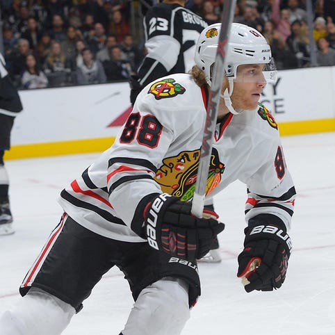 Chicago Blackhawks right wing Patrick Kane (88) reacts