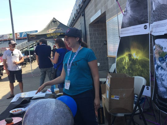 NASA representative Molly Wasser at Volcanoes Stadium Saturday.