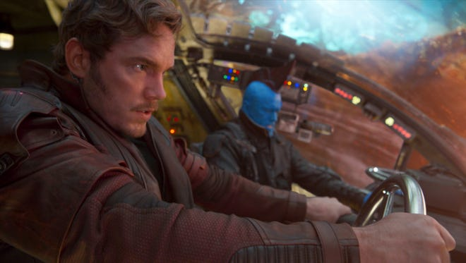 "Star-Lord (Chris Pratt, left) and Yondu (Michael Rooker) try to get out of a jam in ""Guardians of the Galaxy Vol. 2."""
