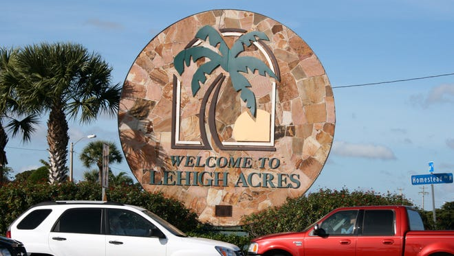 The welcome sign at Homestead Road and Lee Boulevard in Lehigh Acres.