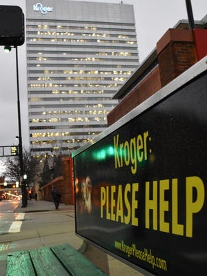 This billboard lobbying Kroger to abandon caged hens to produce eggs was posted Wednesday in sight of Kroger headquarters in Cincinnati, Ohio