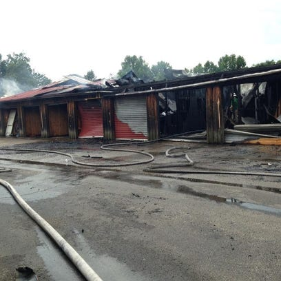 Storage building burns in Lexington.