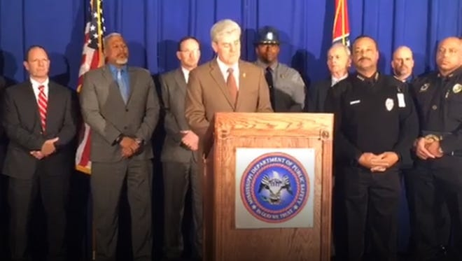 Governor Phil Bryant addresses media during a briefing on Operation Silent Night, which took place over the weekend.