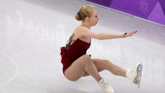 Bradie Tennell falls during her performance in the women's short program figure skating.