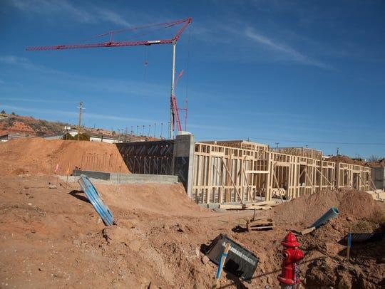 Construction on Tabernacle near Cameo Florists Thursday,
