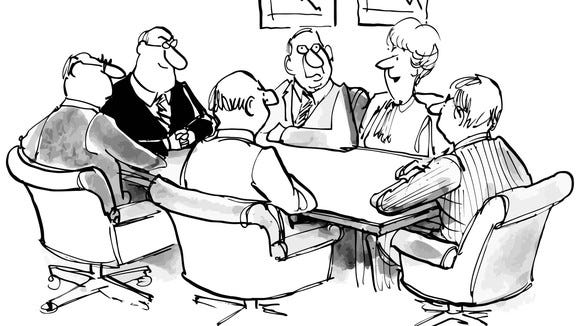 Cartoon about business executives resisting change