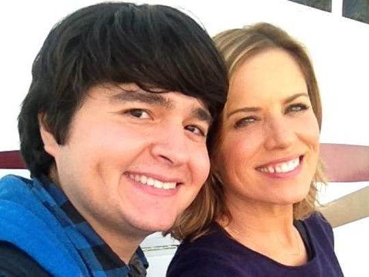 "Indio native Lincoln Castellanos poses for a photo with his ""Fear the Walking Dead"" co-star Kim Dickens who plays Madison, his guidance counselor."