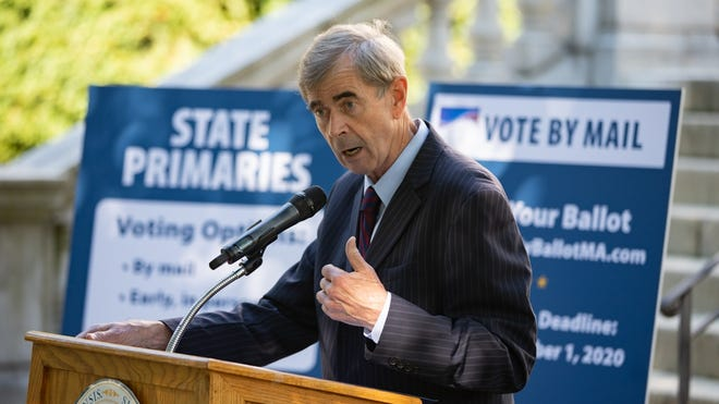 Secretary of State William Galvin, the state's top elections official, held his pre-primary news conference Tuesday in front of the State House.