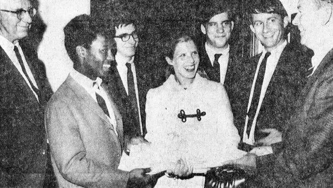 """From the Exeter News-Letter, May 30, 1968: """"Students and faculty members of Phillips Exeter Academy and several town of Exeter residents came to Washington last week to present a petition to U.S. Senator Tom McIntyre. Some 4,500 signatures on the petition urged McIntyre and other members of the congressional delegation to give strong support to civil rights legislation and fuller equality for Negroes in the United States. All signatures were from the Seacoast area. Presenting the petition to the senator were Rev. Harry Ford; Joseph Smith and Gary Woods of PEA; Mrs William Beckett of Exeter; Academy student Hugh Miller, and PEA instructor Charles Trout."""""""