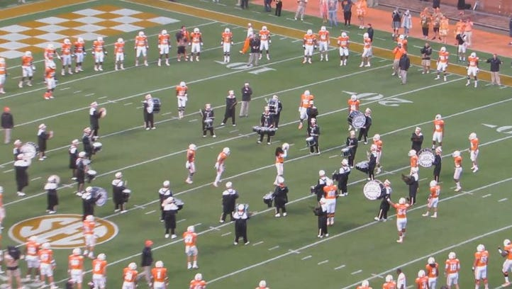 The Vols and Pride of the Southland Marching Band team up for the Circle of Life drill
