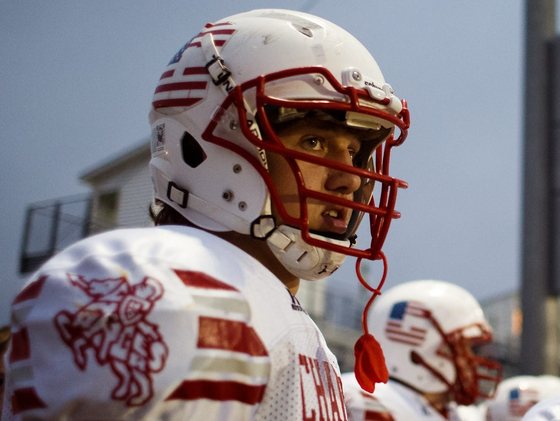Chariton's T.J. Hockenson waits for their game to start against Pella on Friday, Oct. 23, 2015. Chariton will face Gilbert in the opening round of playoffs on Wednesday, Oct. 28.