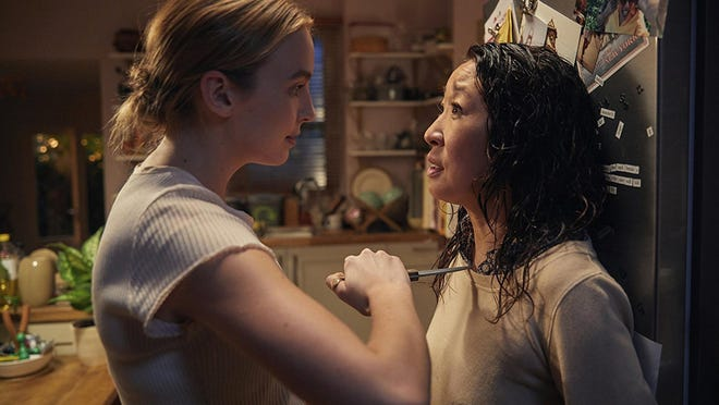 """Sandra Oh, right, and Jodie Comer in """"Killing Eve."""" The first season of the series aired on BBC America; the second season, starting in April, will also air on AMC."""
