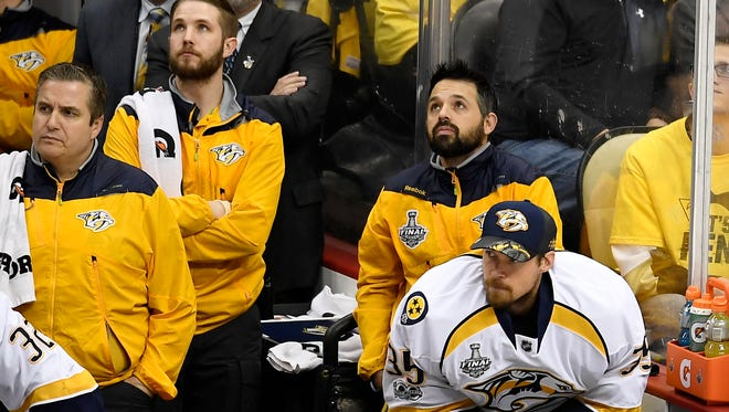Nashville Predators goalie Pekka Rinne (35) sits on the bend during the second period of game 5 of the Stanley Cup Final at PPG Paints Arena Thursday, June 8, 2017, in Pittsburgh, Pa.