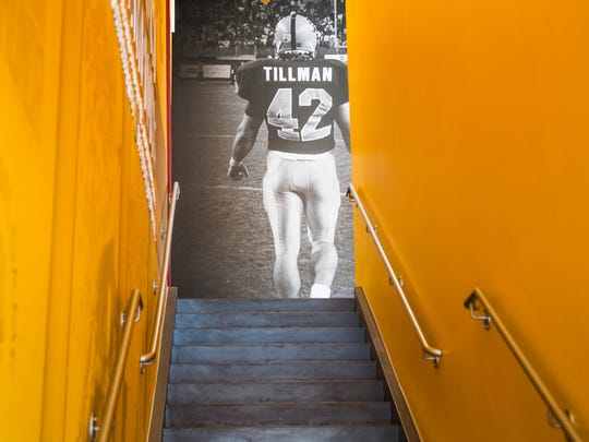 The new Student Athlete Facility at Sun Devil Stadium features a large photo of Pat Tillman at the top of the stairs in the main lobby.
