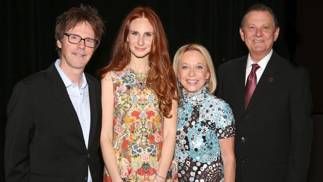 """""""Saturday Night Live"""" comic Dana Carvey (left) entertained at theBetty Ford Center'sBeamer Awards gala. He is shown here with co-chairs Elizabeth Kabler Sorensen and Madeline Redstone, along with the event's honoree, G. Aubrey Serfling of Eisenhower Medical Center."""
