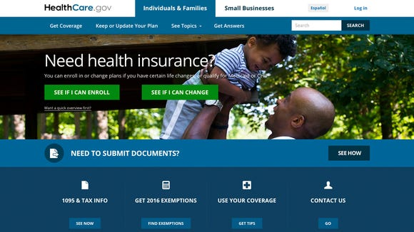 Screen image from HealthCare.gov shows the homepage.