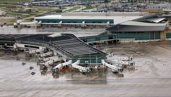 Empty gates at Houston's Hobby Airport are seen on