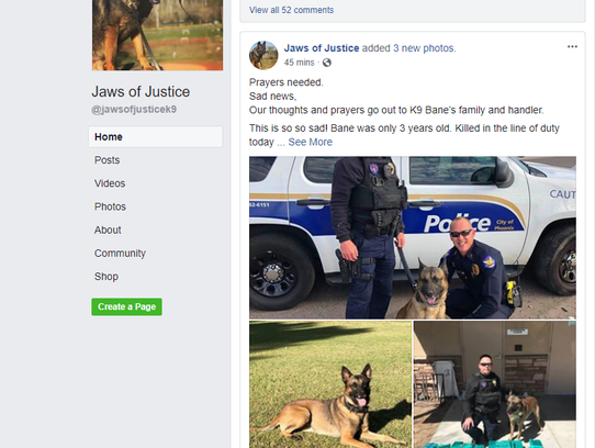 K9 Bane was on the department for two years, was mortally