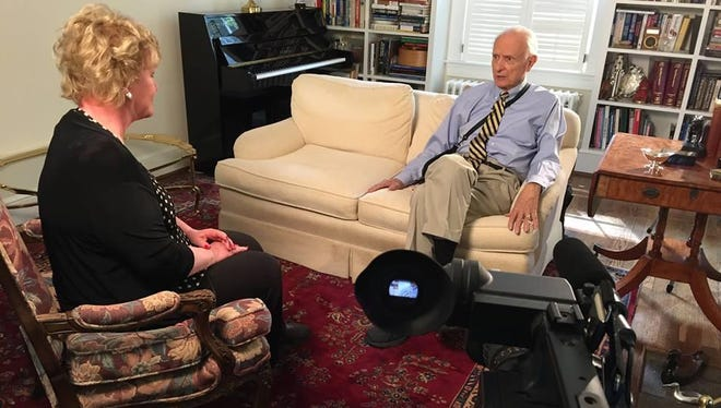 """Patty Spitler talks with former Indianapolis mayor Bill Hudnut for an episode of """"Boomer TV"""" on WISH-TV."""