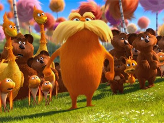 Universal Pictures; Animated character Lorax, voiced by Danny Devito, center, stands with the Bar-ba-loots, Swomee-Swans and Humming-Fish in a scene from 'Dr. Seuss' The Lorax,' which opened in theaters in March.