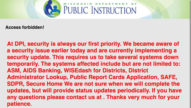 Some visitors to the state Department of Public Instruction's data site Tuesday were greeted with a red-lettered alert.