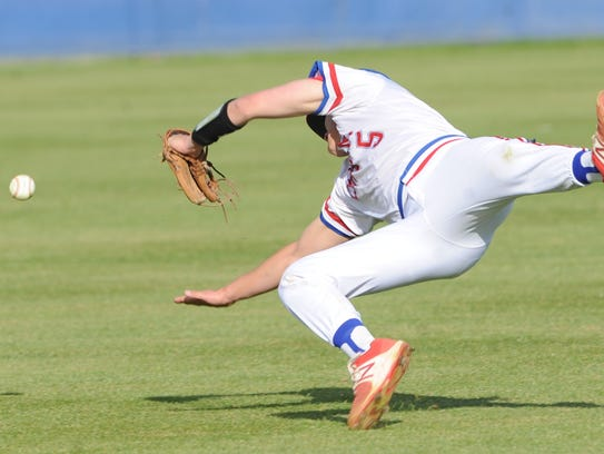 Abilene Cooper shortstop Andrew Benson can't come up