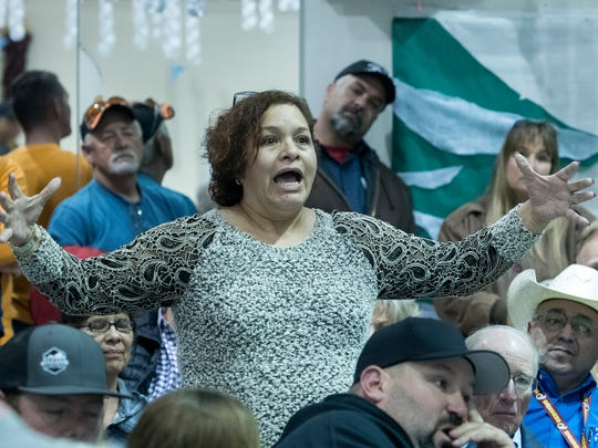 Teresa Zamora, a 30 year resident of Vado, speaks passionately about her views on the multipurpose motor sports complex that will be built at the Vado exit of I-10 during a community meeting on Jan. 19, 2017