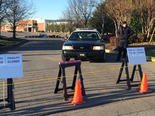 Police barricade the entrance to A-Game Sportsplex