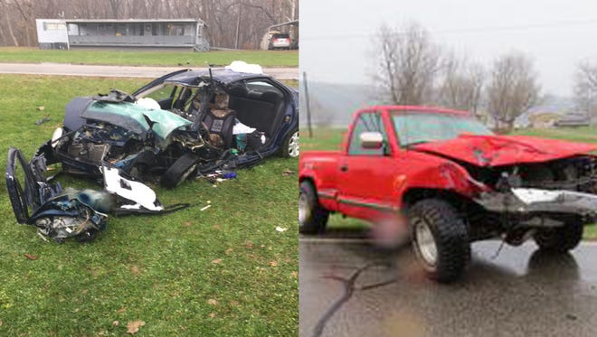 Micayla D. Acra was driving the car on the left when her car hit Dylan K. Levi's truck head-on Tuesday morning. Acra died on the scene.