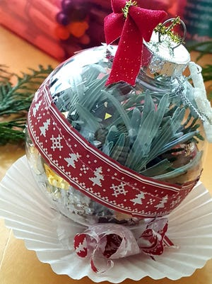 A greenhouse or outdoor garden is not required for a horticultural therapy program.  The focus is always on the population served using seasonally-related plant materials.  This month, one activity for three different populations is the creation of holiday ornaments.  The populations are Memory Care, adults with dementia, Adult outpatient group with mental health and substance abuse issues, and a group of fourth through 6th grade students in after school prevention program for youth at risk in a garden club.  The activity offered fun, connection, curiosity, socialization for all of the participants and meaningful connection expressed in different ways.