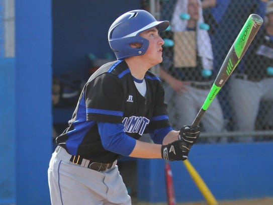 Hammonton's Liam McGarvey hits a single during a 1-0