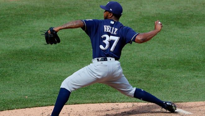Brewers closer Neftali Feliz delivers in the ninth inning.