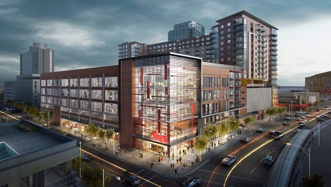 A rendering of the Block 23 high-rise development that will include a Fry's grocery store on First Street in downtown Phoenix.