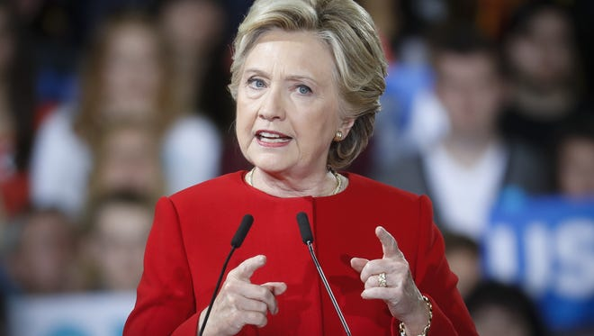 Clinton Democratic presidential candidate Hillary Clinton speaks at a campaign rally at Kent State University, Monday, Oct. 31, 2016, in Kent, Ohio.