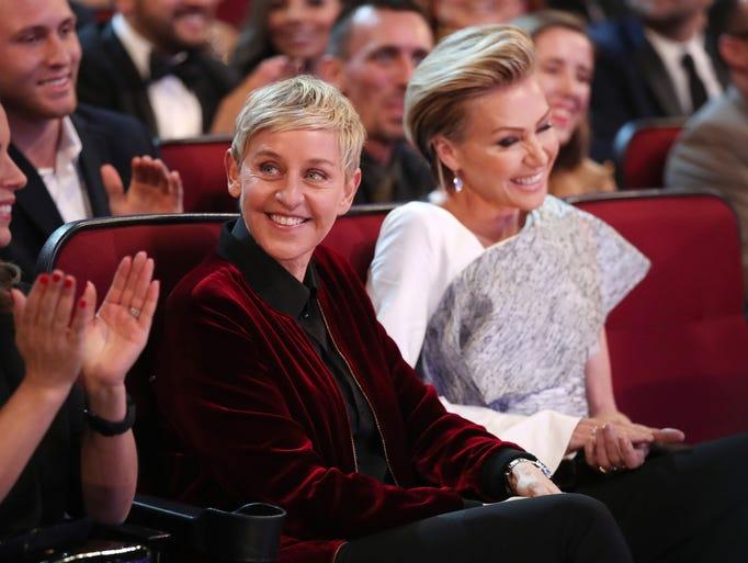 TV personality Ellen DeGeneres, left, and actress Portia