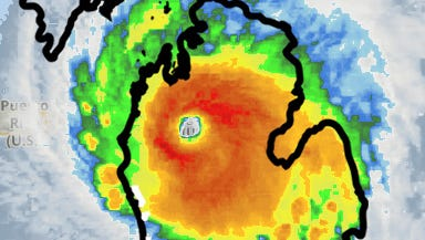 A size comparison between the state of Michigan and Hurricane Irma as of Sept. 6, 2017. (Satellite map via wunderground.com)