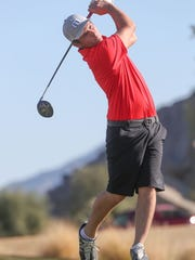 Chase Cadwallader of Palm Desert tees off at Silverock