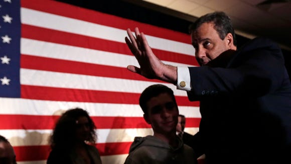 Chris Christie thanks supporters during a primary night
