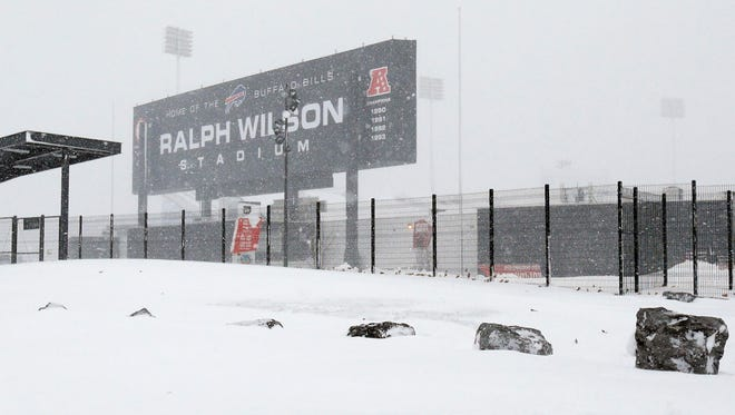A general view of the outside of Ralph Wilson Stadium on Thursday after a major snowstorm hit the area.