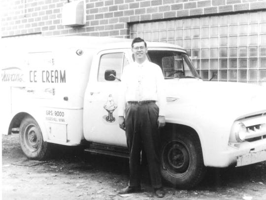 Marvin Schwan stands next to an early Schwan?s delivery