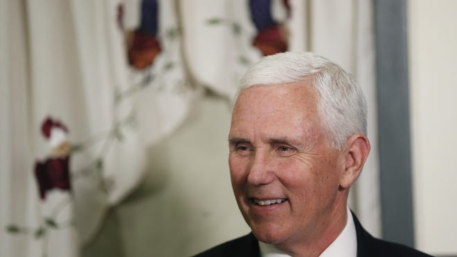 """FILE - in this June 16, 2020 file photo, Vice President Mike Pence speaks to diners during a lunch at Sally's, in Forest City, Iowa. Pence will visit Texas later this month for a """"Celebrate Freedom"""" event at a Dallas church, officials said Wednesday June 17."""