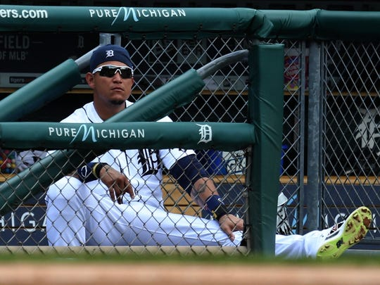 Detroit Tigers first baseman Miguel Cabrera watches from the dugout against the Oakland Athletics on Thursday,June 4 ,2015 at Comerica Park in Detroit.