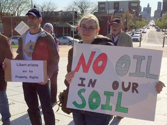 Opponents of the proposed Bakken oil pipeline rallied at the Iowa Capitol in April.