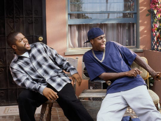 "July 28: Craig (Ice Cube) and Smokey (Chris Tucker) have to come up with $200 by 10 p.m. to pay a threatening pot supplier in 1995's ""Friday.""  © New Line Cinema"