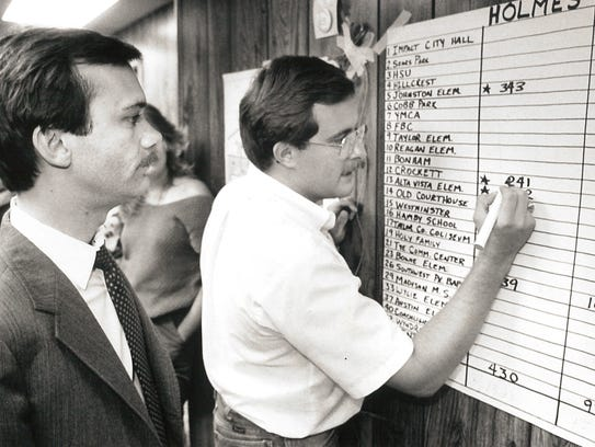 Larry Holmes, left, watches old-school tabulation of election results Aug. 9, 1986. The Democrat won more precincts than opponent Bob Hunter but Hunter won the special election by 162 votes.