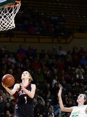 Colorado City's Kaitlyn Kimball goes to the hoop in a Region I-3A semifinal vs. Idalou in Midland on Friday, Feb., 24, 2018.