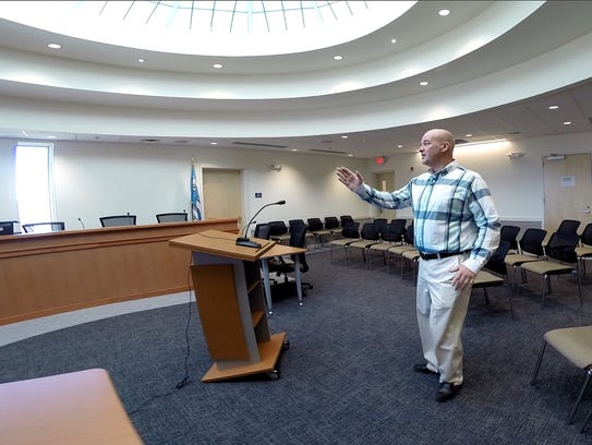 Lavallette mayor Walter LaCicero gives a tour of the