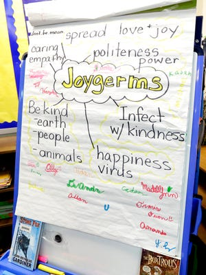 "A poster outlining the purpose of spreading ""Joygerms"" around sits in Mary Costello's third grade classroom at Evans school in Fond du Lac."